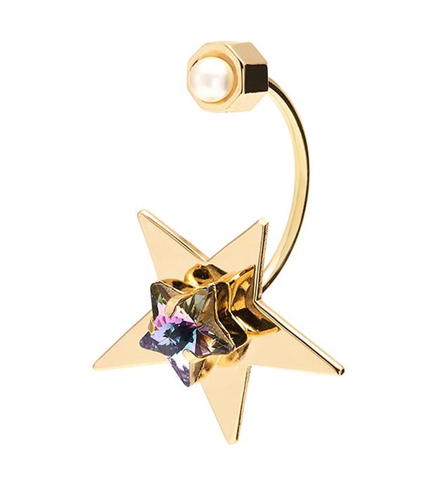 необычная моносерьга ручной работы Star с переливающимся кристаллом и жемчугом от Maria Francesca Pepe