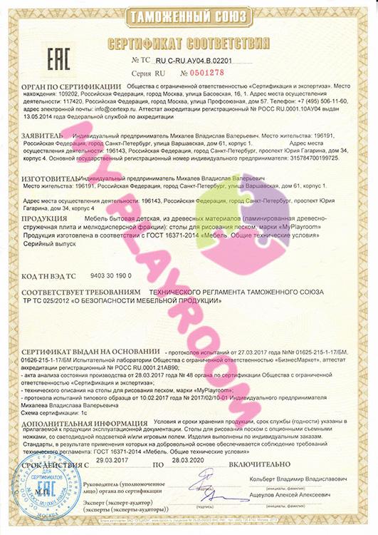 Сертификат соответствия EAC