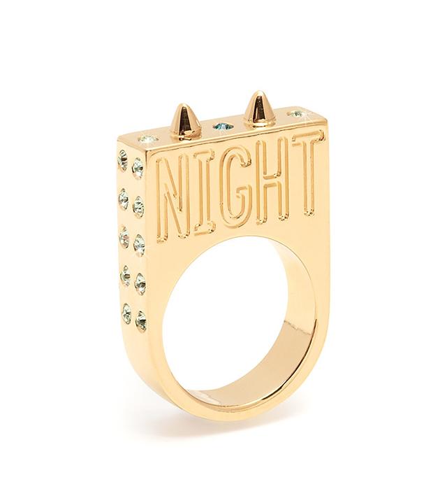 Оригинальное массивное кольцо с эмалью , кристаллами и гравировкой от Maria Francesca Pepe - Starry Night