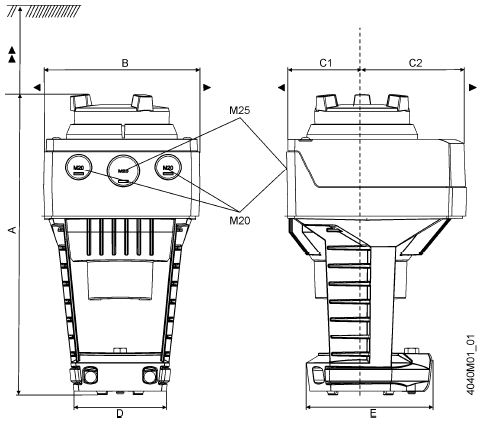 Размеры привода Siemens SAX61.03