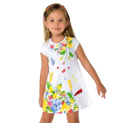 Одежда Mayoral Весна-Лето 2019, платье с цветами Белое и аппликацией