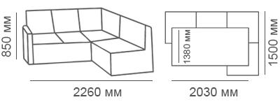 Габаритные размеры углового дивана Карелия