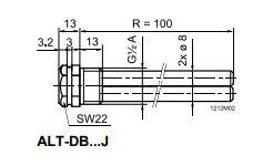 Размеры защитной гильзы Siemens ALT-DB150J