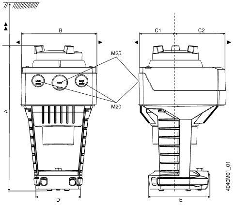 Размеры привода Siemens SAX81.03