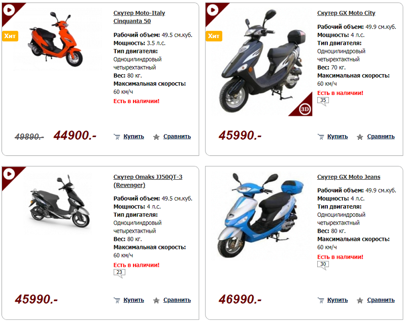 выбор скутеров