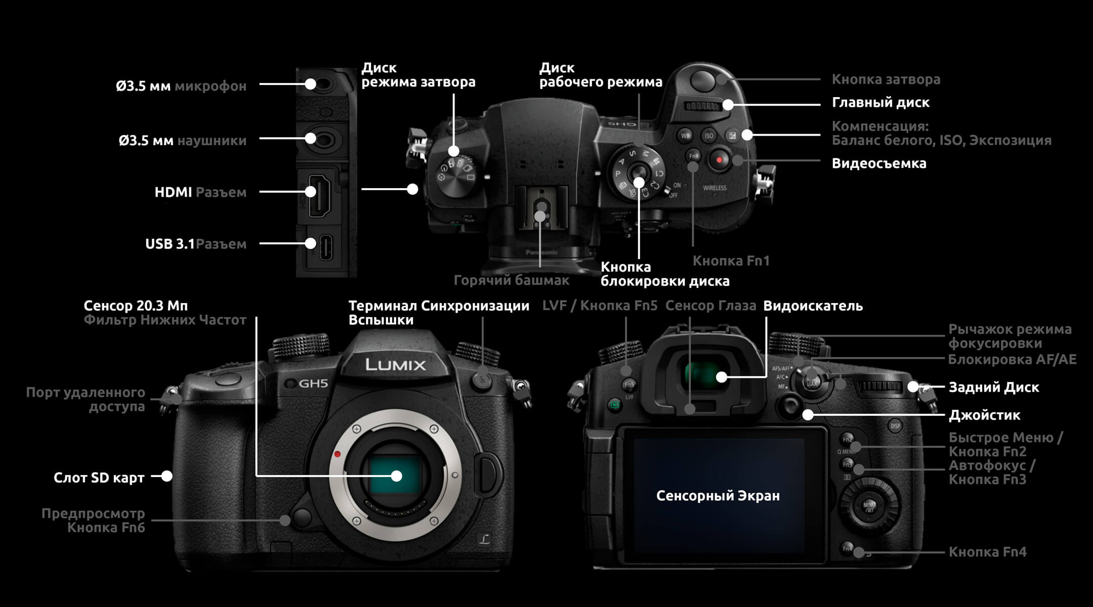 Panasonic Lumix GH5 интерфейс