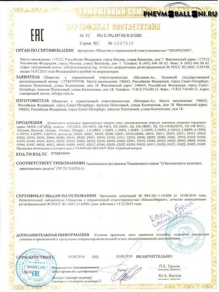 Сертификат ARIDE