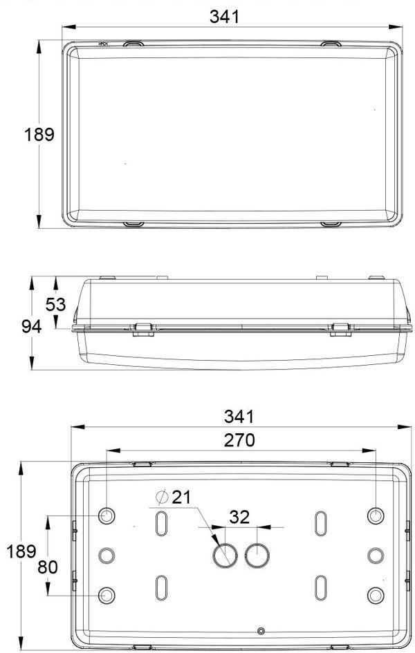 Монтажные размеры для светодиодного аварийного светильника IP65 SAFE-29