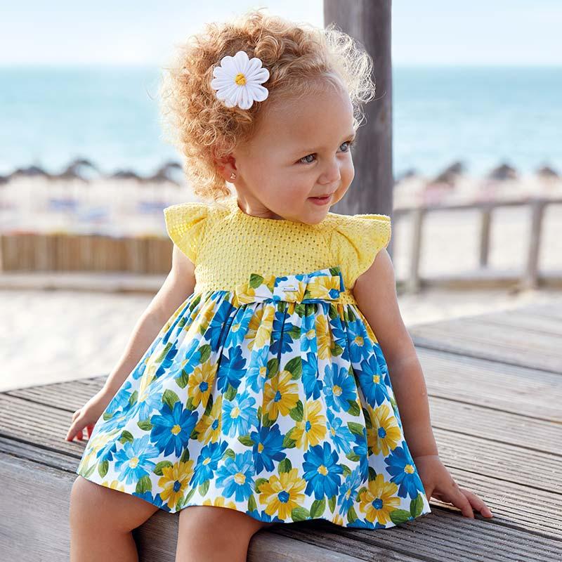 Одежда Mayoral Весна-Лето 2019, платье с цветами желтое