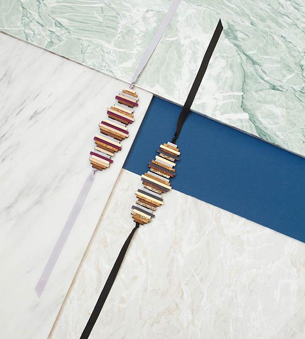 купите необычное украшение ручной работы на лентах от Wolf&Moon -  Ripple bracelet Lavender Blue