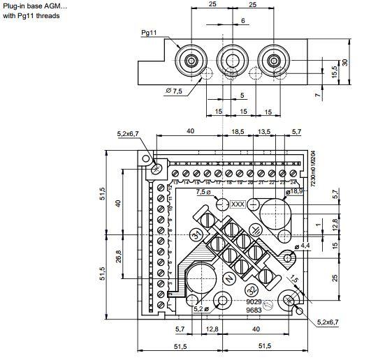 Размеры КОРЗИНЫ ПОДКЛЮЧЕНИЯ Siemens AGM13.1