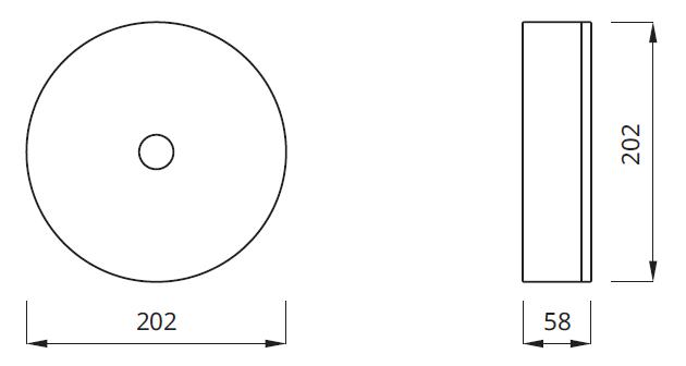 Размер потолочного светильника AXN для аварийного освещения на путях эвакуации