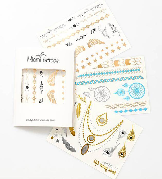купите набор разноцветных флэш-татуировок Bohemique от Miami Tattoos