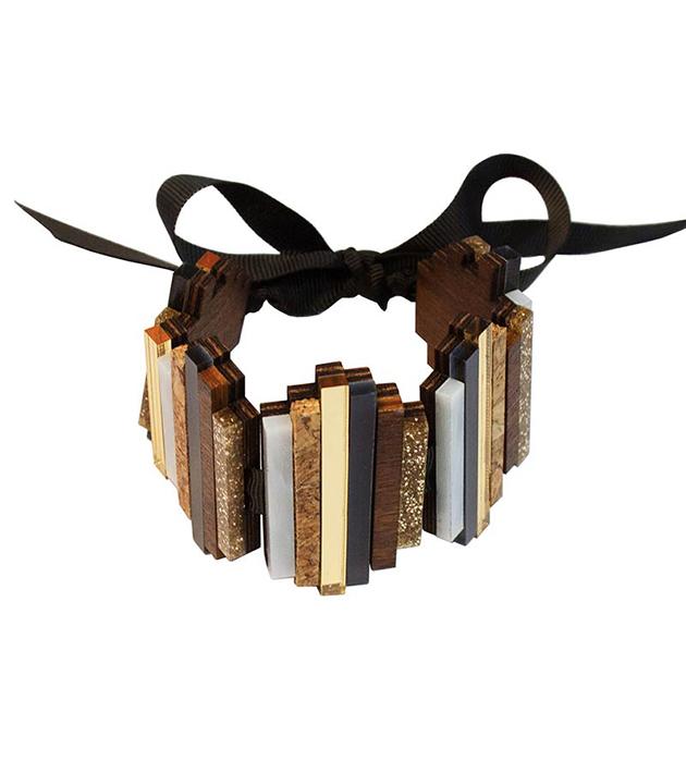 золотисто-коричневый браслет от английского бренда Wolf&Moon - Ripple bracelet Navy