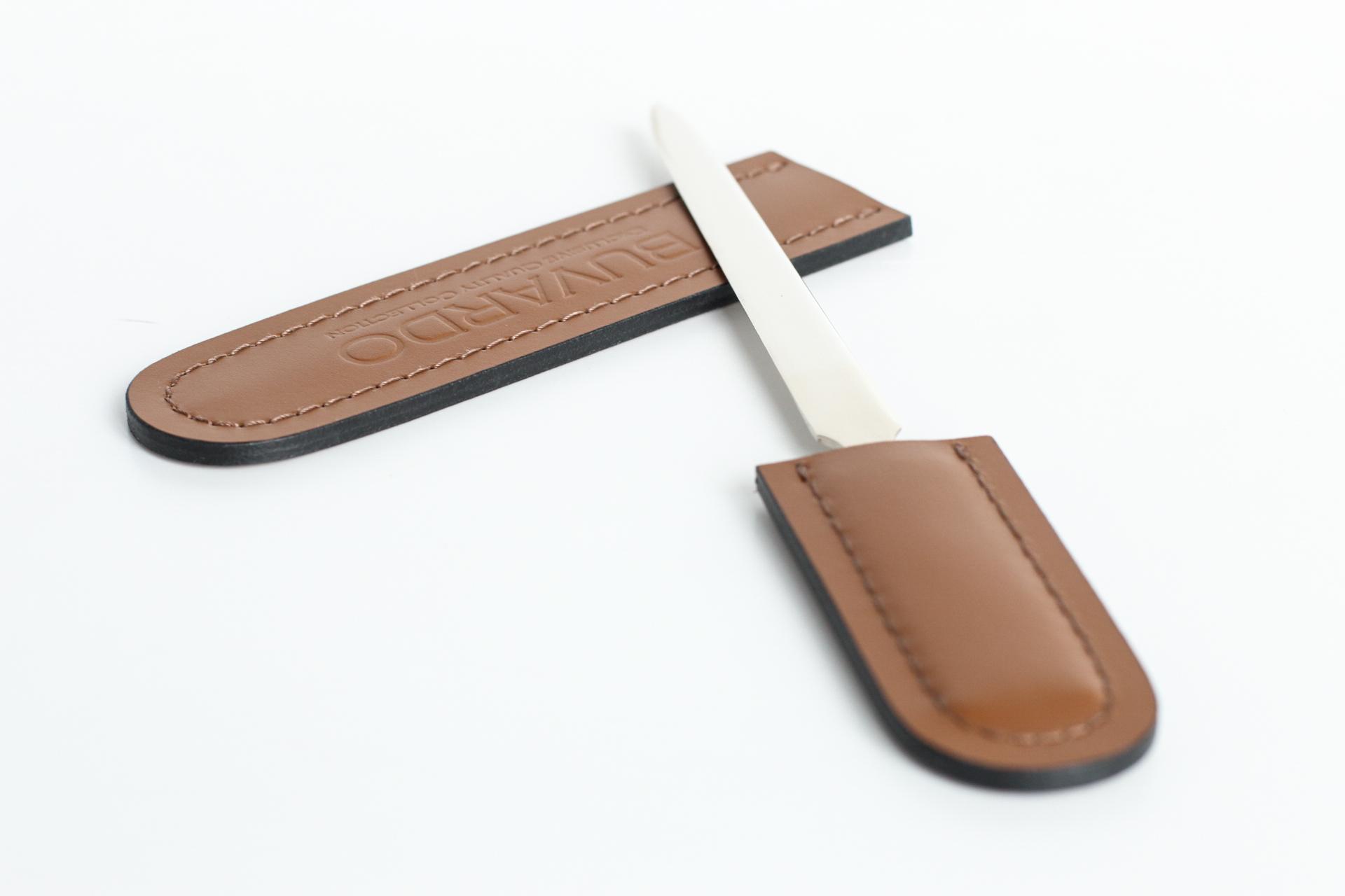 нож buvardo в кожаном чехле табак