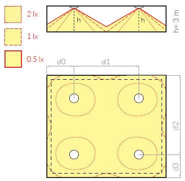 Схема расстановки светильников SMART-44