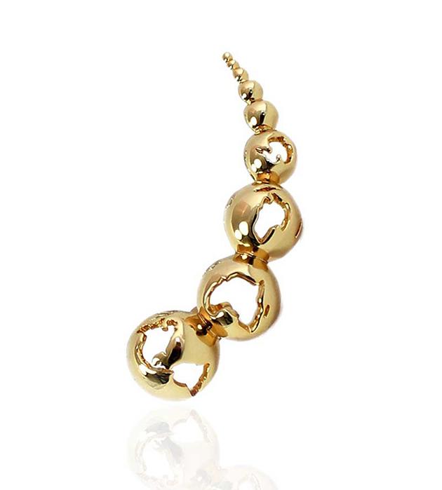 эффектная серьга-кафф из позолоченной латуни от мексиканского бренда Artelier MX - World Gold earcuff