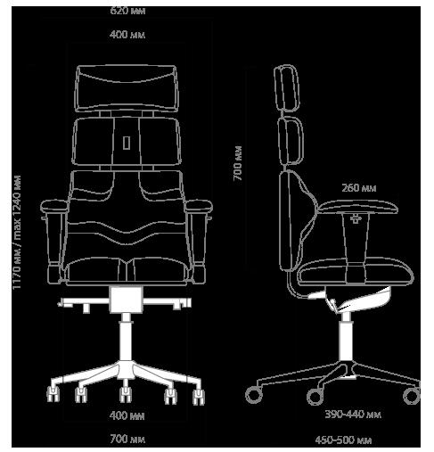 Габариты кресла KULIK SYSTEM PYRAMID
