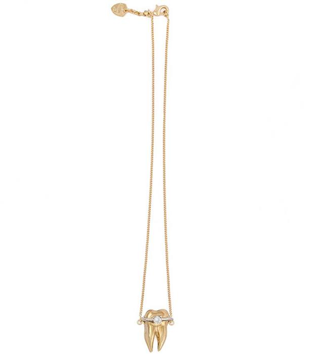 оригинальная подвеска из латуни, покрытой позолотой от итальянского бренда Schield - Tooth Brackets pendant