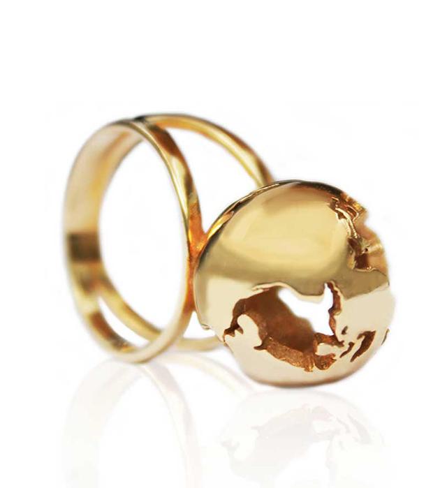 купите кольцо ручной работы World Globe gold ring от Artelier MX