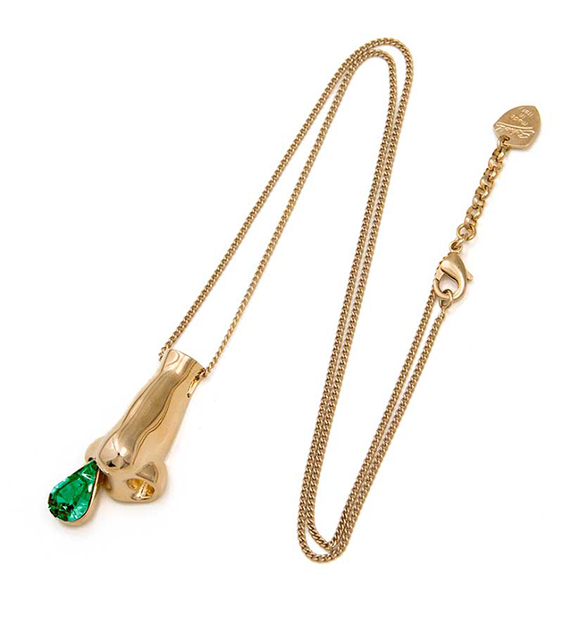 необычная позолоченная подвеска с цепочкой oт итальянского бренда Schield - Dripping Nose pendant
