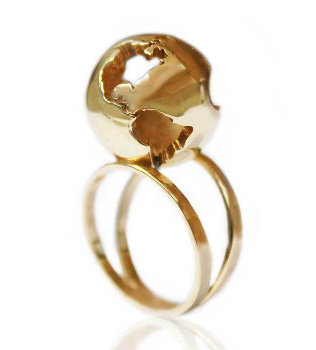 оригинальное кольцо World Globe gold ring от мексиканского бренда Artelier MX
