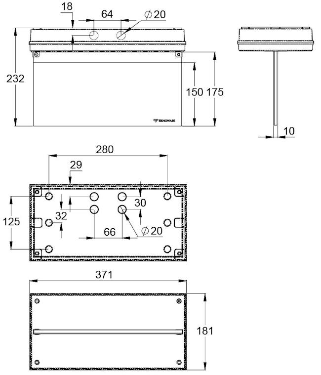 Монтажные размеры для светодиодного указателя IP65 SOLID EXIT-2