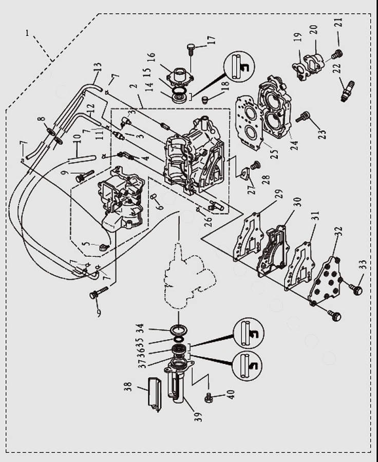 Запчасти для блока цилиндров и картера лодочного мотора T9.8 Sea-PRO