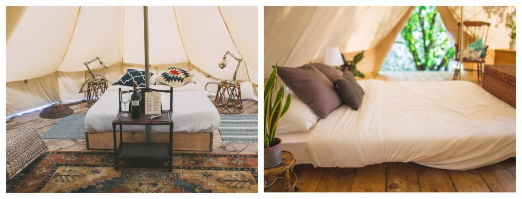 Комфортные палатки в серф-кемпе