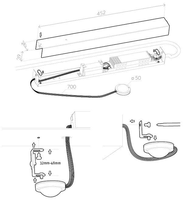 Монтажная схема крепления светильника аварийного освещения эвакуационных проходов BOA COR