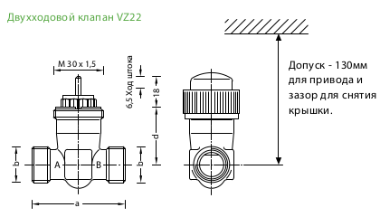 Размеры клапана Schneider Electric VZ22-G3/4-4,0