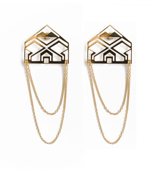 золотые длинные серьги от Chic Alors-Paris