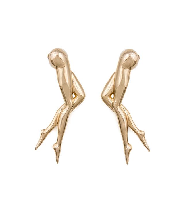стильные серьги-гвоздики из позолоченной латуни oт итальянского бренда Schield - Little Legs earrings