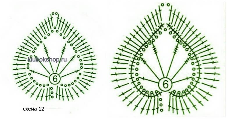Схема вязания - лист липы