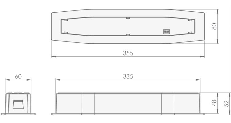 Размеры встраиваемого аварийного светильника с аккумулятором Suprema LED SC PT IP54 Intelight