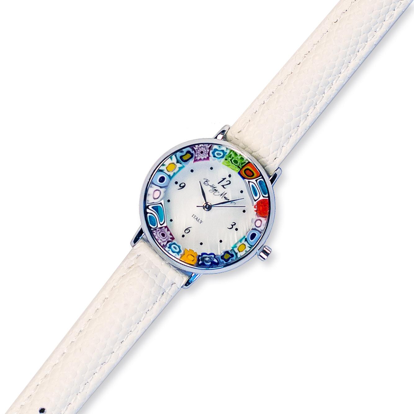 Часы из муранского стекла наручные на белом ремешке