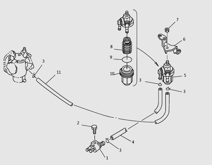 Запчасти топливной системы для лодочного мотора T9.8 Sea-PRO