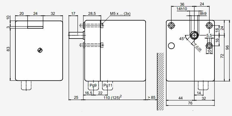 Размеры привода Siemens SQN31.252A2700