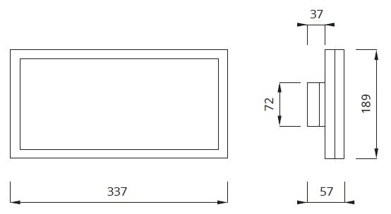 Размеры настенного светодиодного светового указателя выхода IP44 Infinity B LED Awex