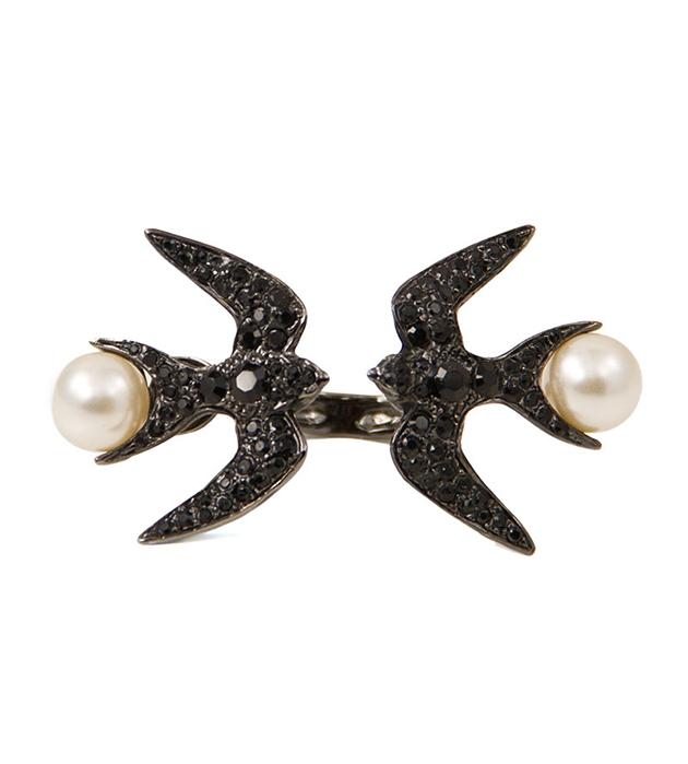открытое кольцо с ласточками ручной работы oт итальянского бренда Schield - Swallow ring Jet