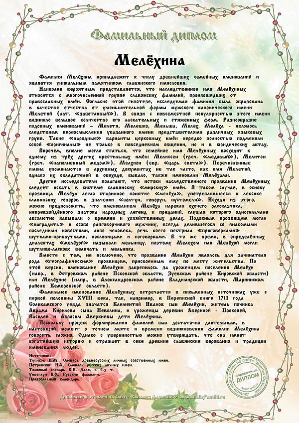 Именной диплом Мелехина
