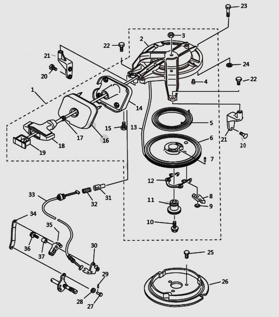 Запчасти стартера для лодочного мотора T9.8 Sea-PRO