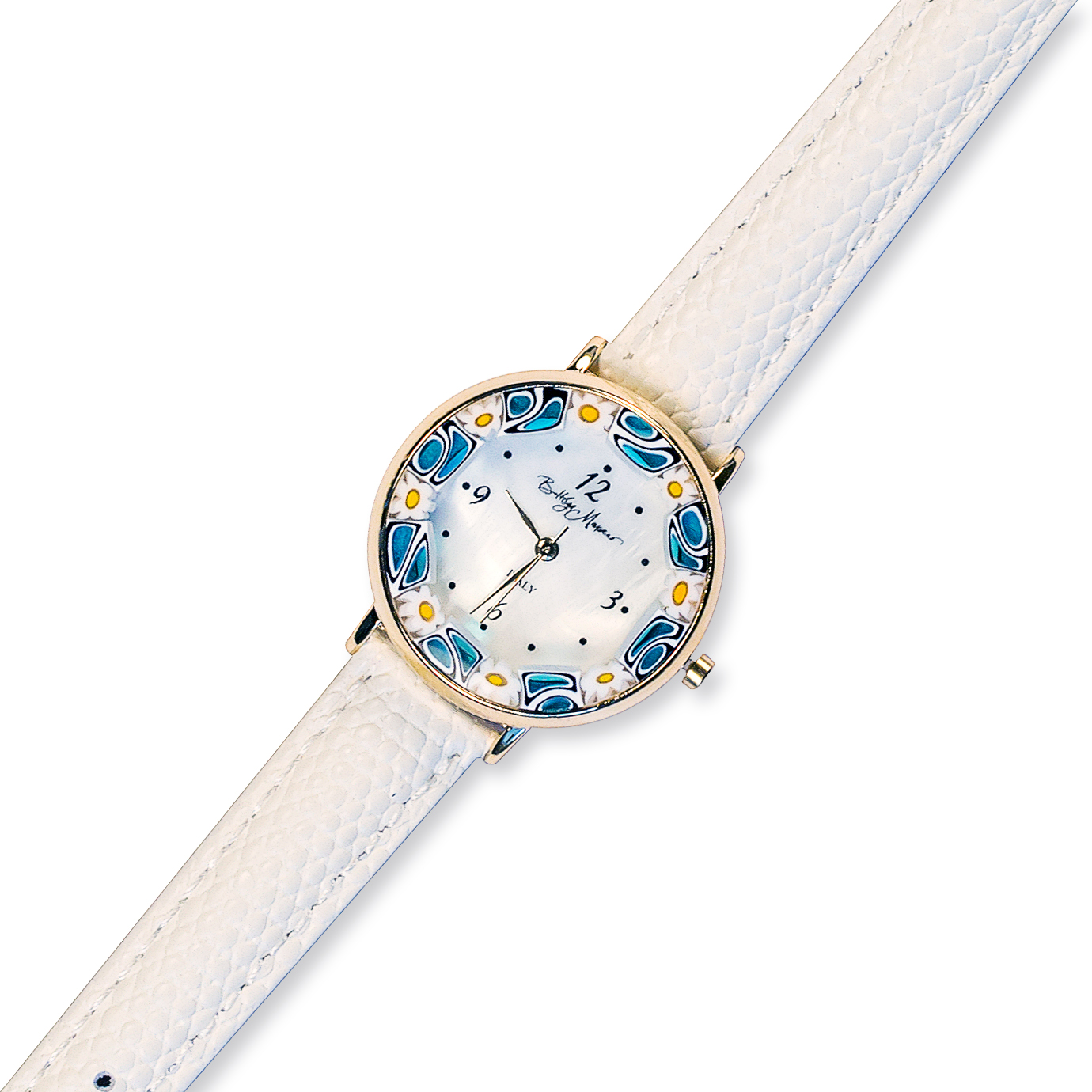 Часы из муранского стекла наручные на белом ремешке оправа золото
