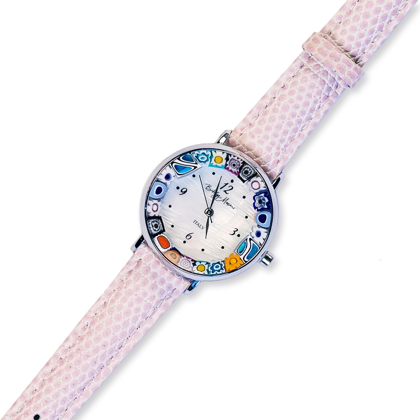 Часы из муранского стекла наручные розовые