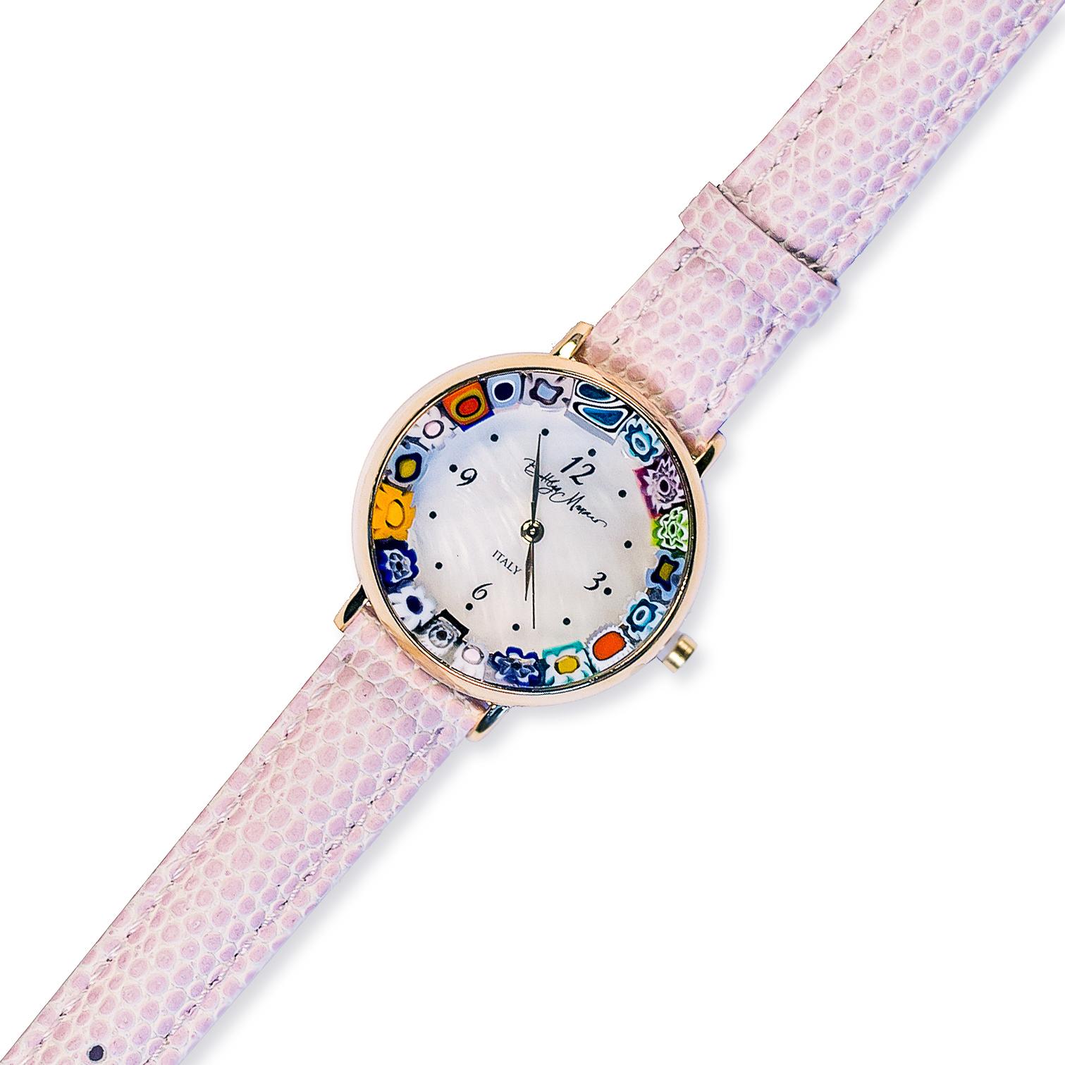 Часы из муранского стекла наручные розовые на золотой оправе