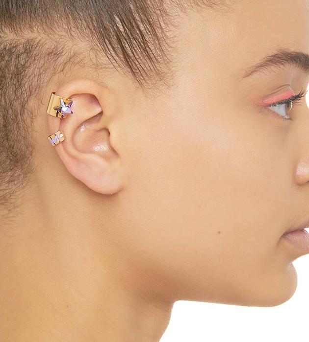 золотистая серьга-кафф с крупным кристаллом от Maria Francesca Pepe - Star earcuff