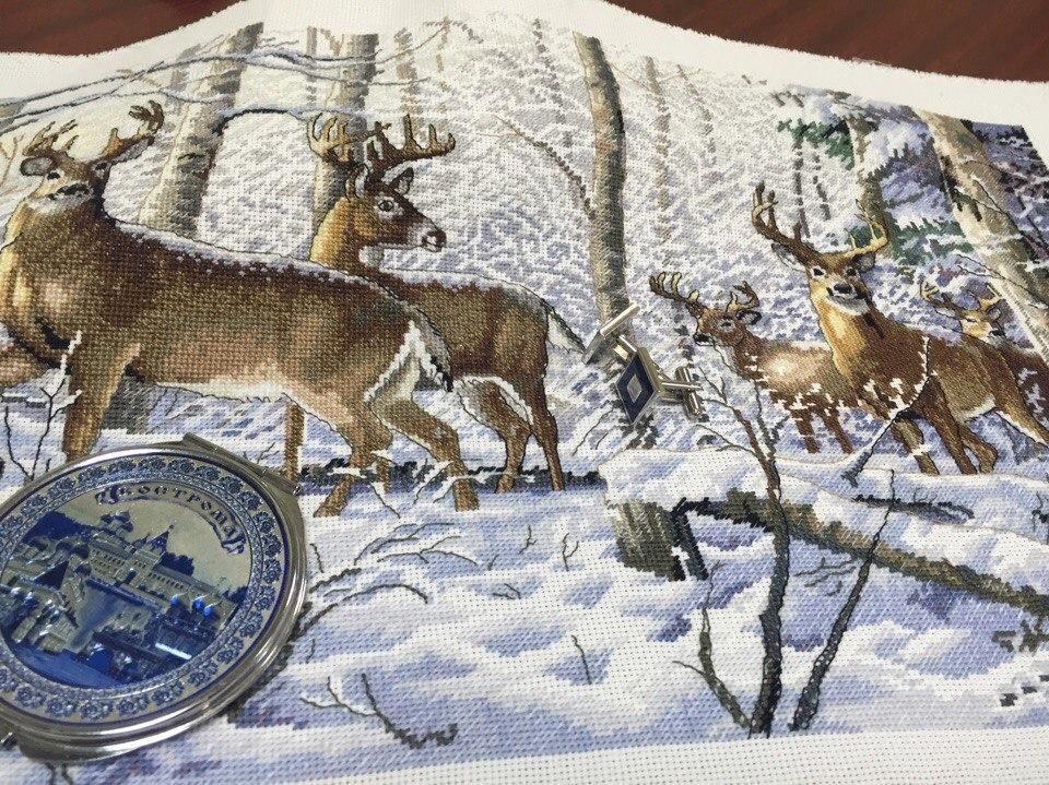 Набор для вышивания. Олени в зимнем леcу. Woodland Winter. Арт. 35130