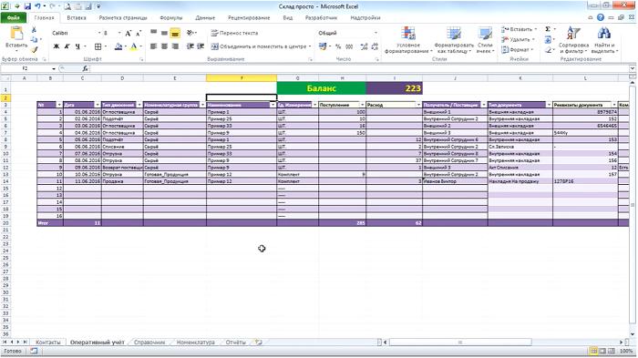 Пример ведение учета вExcel-таблицах