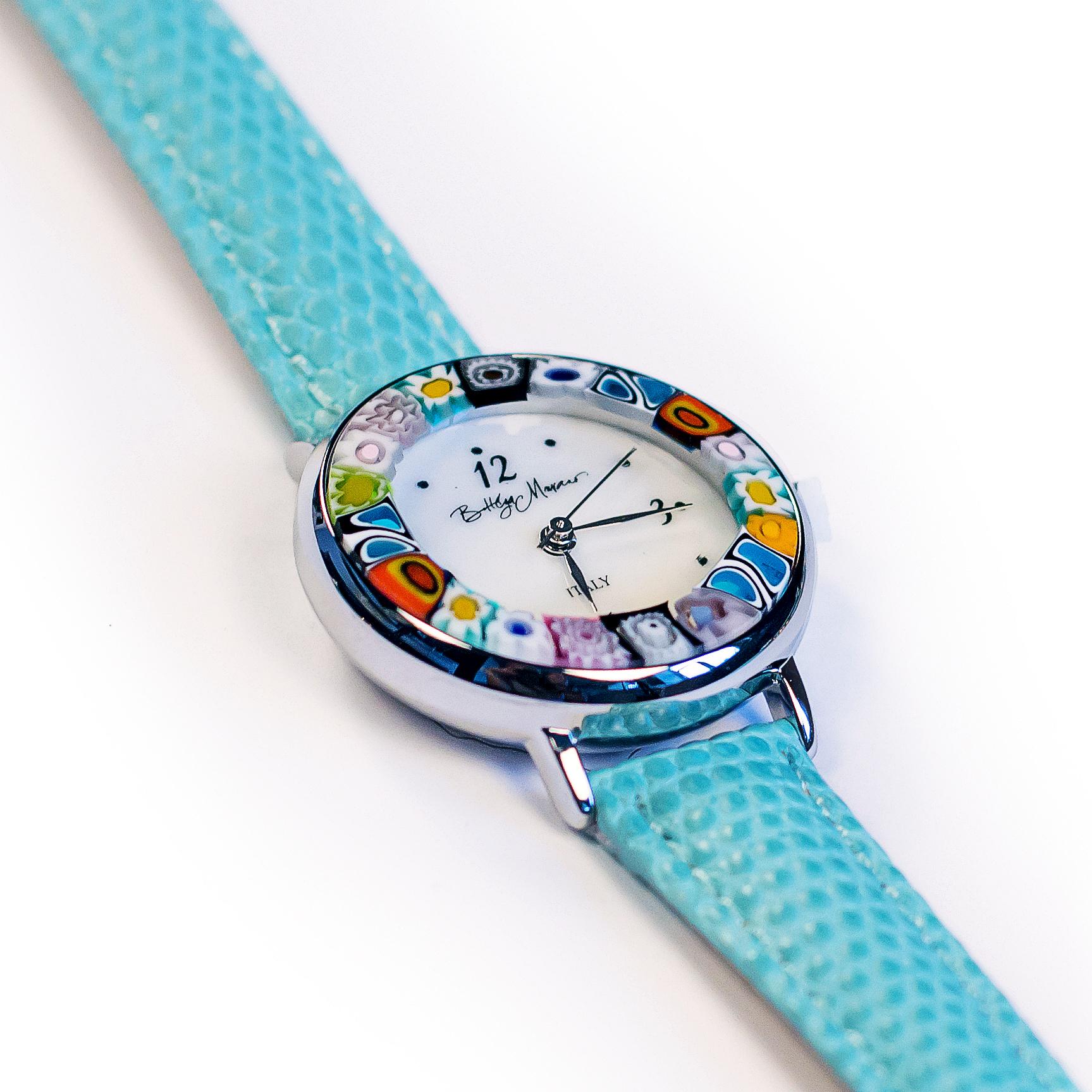 Часы из муранского стекла наручные голубые на серебряной оправе