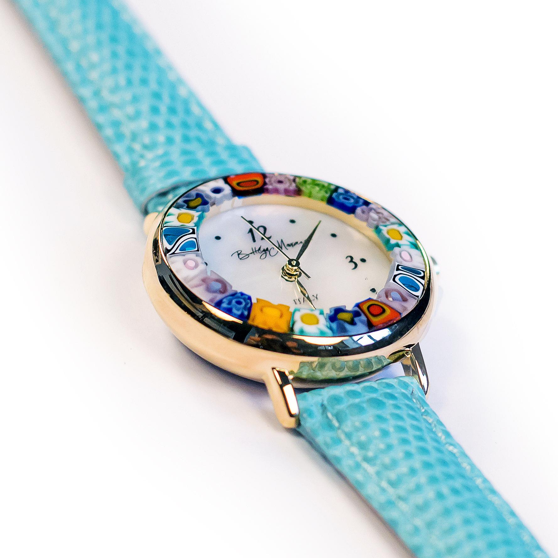 Часы из муранского стекла наручные голубые на золотой оправе